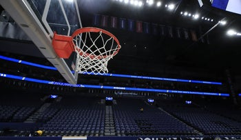 A basketball hoop at Bridgestone Arena in Nashville, Tennessee, March 12, 2020.