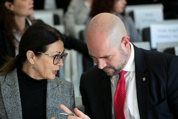 Justice Minister Amir Ohana (R) and Chief Justice Esther Hayut, February 2020.