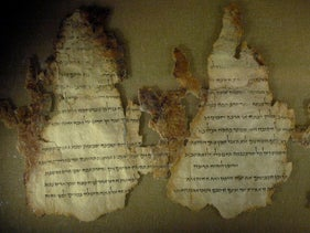 Three fragments from the Dead Sea Scrolls displayed at the Maltz Museum of Jewish Heritage in Beachwood, Ohio, March 2008