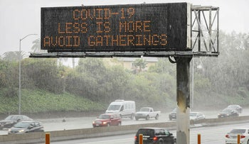 Less is more: Exhortation on the I-10 Freeway on March 14, 2020 in Los Angeles, California CREDIT Mario Tama/Getty Images/AFP