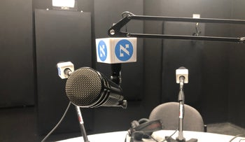 Haaretz's empty podcast studio ahead of a phone-in recording on March 15, 2020.