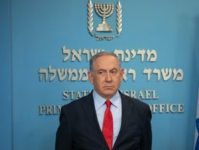 Prime Minister Benjamin Netanyahu at a press conference addressing measures to counter the coronavirus, Jerusalem, March 14, 2020.