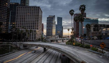 The 110 Freeeway is seen in downtown Los Angeles, California on March 15, 2020
