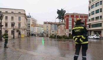 Military Emergencies Unit (UME) are pictured after their deployment in the northern Spanish city of Burgos, on March 16, 2020