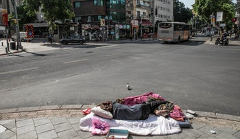 A homeless person in Tel Aviv on March 16, 2020.