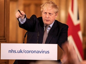Britain's Prime Minister Boris Johnson speaks during a news conference on the ongoing situation with the coronavirus disease (COVID-19) in London, Britain March 16, 2020