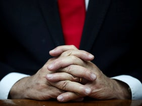The hands of Prime Minister Benjamin Netanyahu, March 8, 2020.