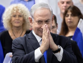 Netanyahu attends a press conference in Jerusalem on March 7, 2020.
