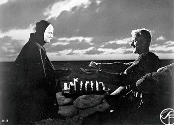 """Max von Sydow and Bengt Ekerot in the 1957 film """"The Seventh Seal"""" by Ingmar Bergman."""