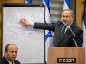 Benjamin Netanyahu explains why he should remain prime minister after the right wing won a majority of 'Jewish votes' in the election, Jerusalem, March 4, 2020.