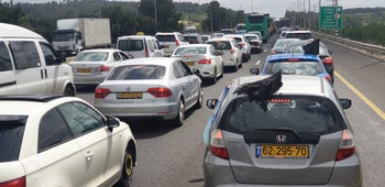 The protest caravan on its way to the Knesset, March 19, 2020.