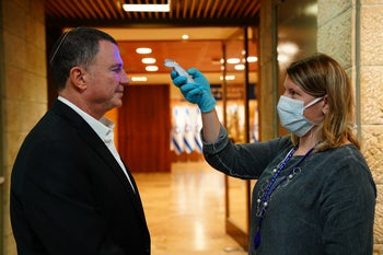 Edelstein gets checked as he entered the Knesset this week.