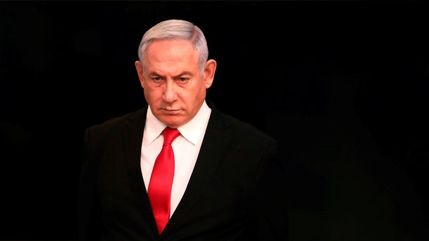 Benjamin Netanyahu arrives for a speech from his Jerusalem office on March 14, 2020.