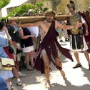 Jesus bearing the cross at the Holy Land Experience biblical theme park, Orlando, Florida, early 2020.