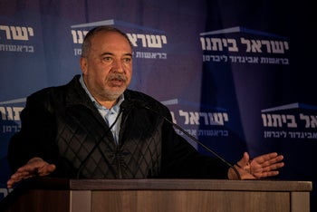 The leader of the Yisrael Beiteinu party Avigdor Lieberman, in the city of Modiin, March 2, 2020.