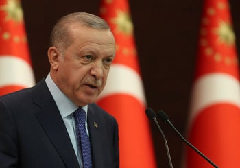 Turkish President Recep Tayyip Erdogan speaks during a press conference on the fight against the coronavirus. Cankaya Palace, Ankara, March 18, 2020