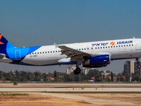 An Israir flight lands at Ben Gurion airport, Israel, May 28, 2015.