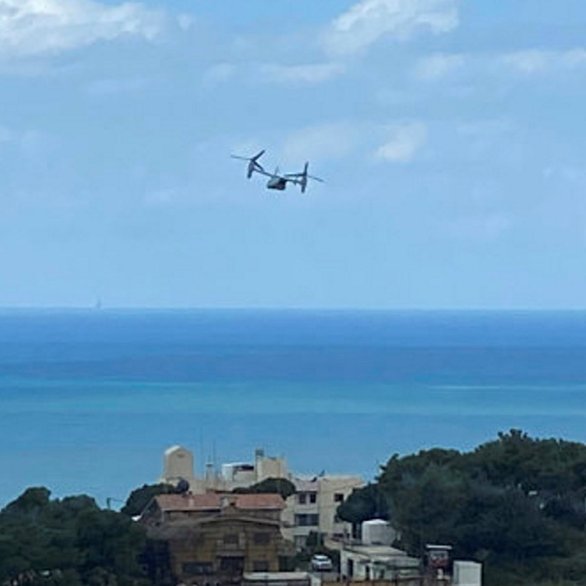 A U.S. Marine Osprey is seen taking off from the U.S. Embassy in Aukar, northeast of Beirut, Lebanon, onMarch 19, 2020.