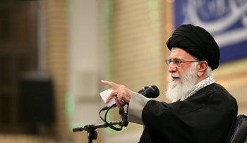 Supreme Leader Ayatollah Ali Khamenei on stage during a meeting with eulogists in Tehran, February 15, 2020.