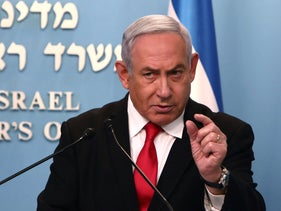 Benjamin Netanyahu delivers a speech regarding the new measures that will be taken to fight the Corona virus in Israel, at his Jerusalem office, March 14, 2020.