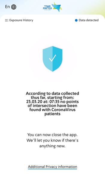 A screen capture from the Health Ministrys coronavirus app.