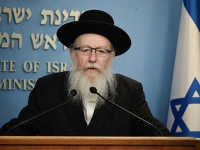 Health Minister Yaakov Litzman, also head of the ultra-Orthodox United Torah Judaism party, at a press conference in Jerusalem, March 19, 2020.