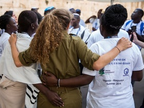 Birthright participants from Uganda at at the Western Wall in Jerusalem August 27, 2018
