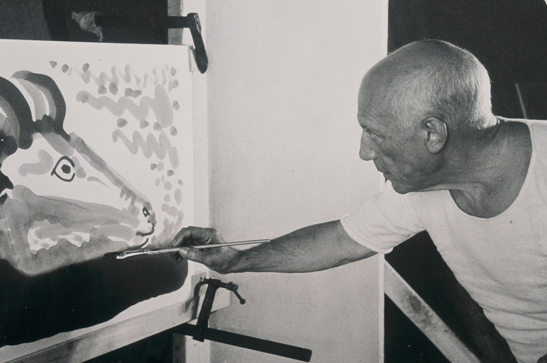 """A still from the 1956 film """"The Mystery of Picasso,"""" a French documentary about the Spanish artist whom Alex Glass became friends with in the 1960s."""