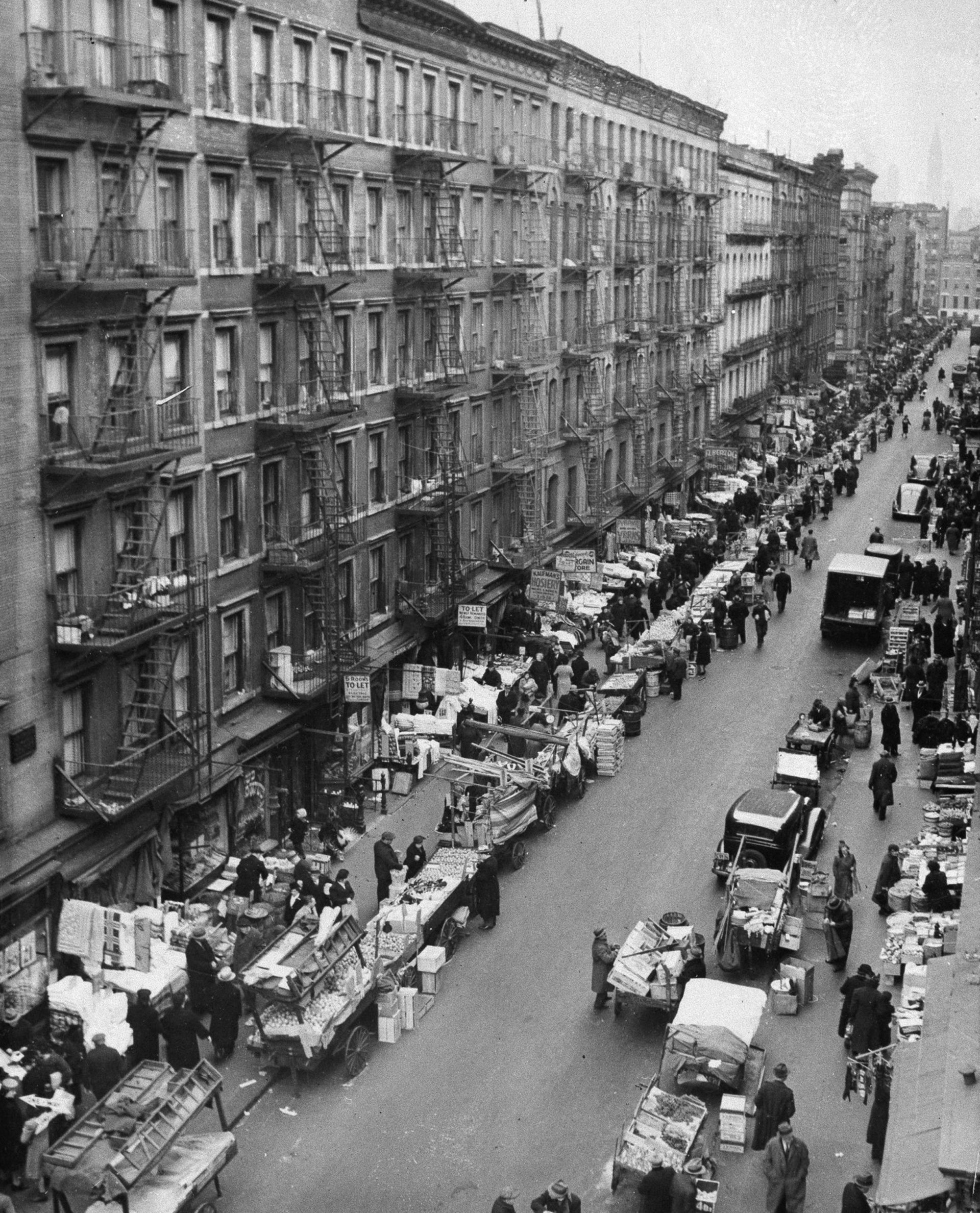 Crowded tenement buildings in Manhattan's Lower East Side in 1933. Bill Freeman escaped the slum housing in the 1930s, but encountered anti-Semitism on Long Island.