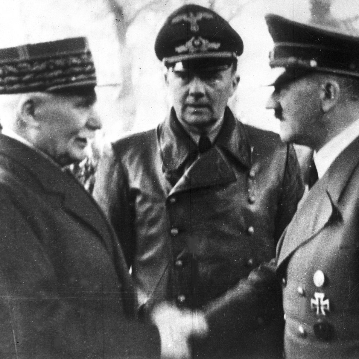 Vichy France leader Marshall Philippe Petain shaking hands with Hitler in occupied France, October 24, 1940.