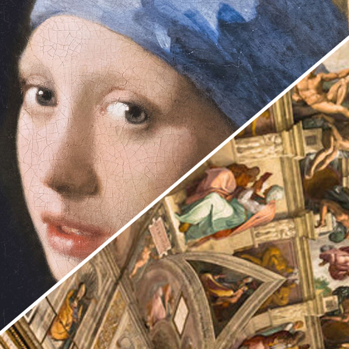 From left to right: Vermeer's 'Girl with a Pearl Earrin', the Sistine Chapel, and a painting by Yoo Youngkuk.