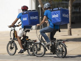 Wolt delivery drivers, Tel Aviv, February 9, 2019.