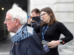 Democratic U.S. presidential candidate Senator Bernie Sanders departs from the U.S. Capitol following a vote on response for the coronavirus disease, in Washington, D.C., U.S., March 18, 2020.