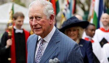 In this Monday, March 9, 2020 file photo, Britain's Prince Charles and Camilla the Duchess of Cornwall, in the background, leave after attending the annual Commonwealth Day service at Westminster Abbey in London, Monday, March 9, 2020