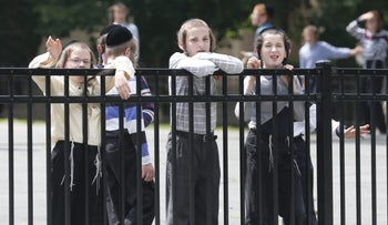 Young members of the Kiryas Joel community in 2014. The village shuttered all its schools on March 19, 2020, in a bid to stop the spread of the coronavirus.