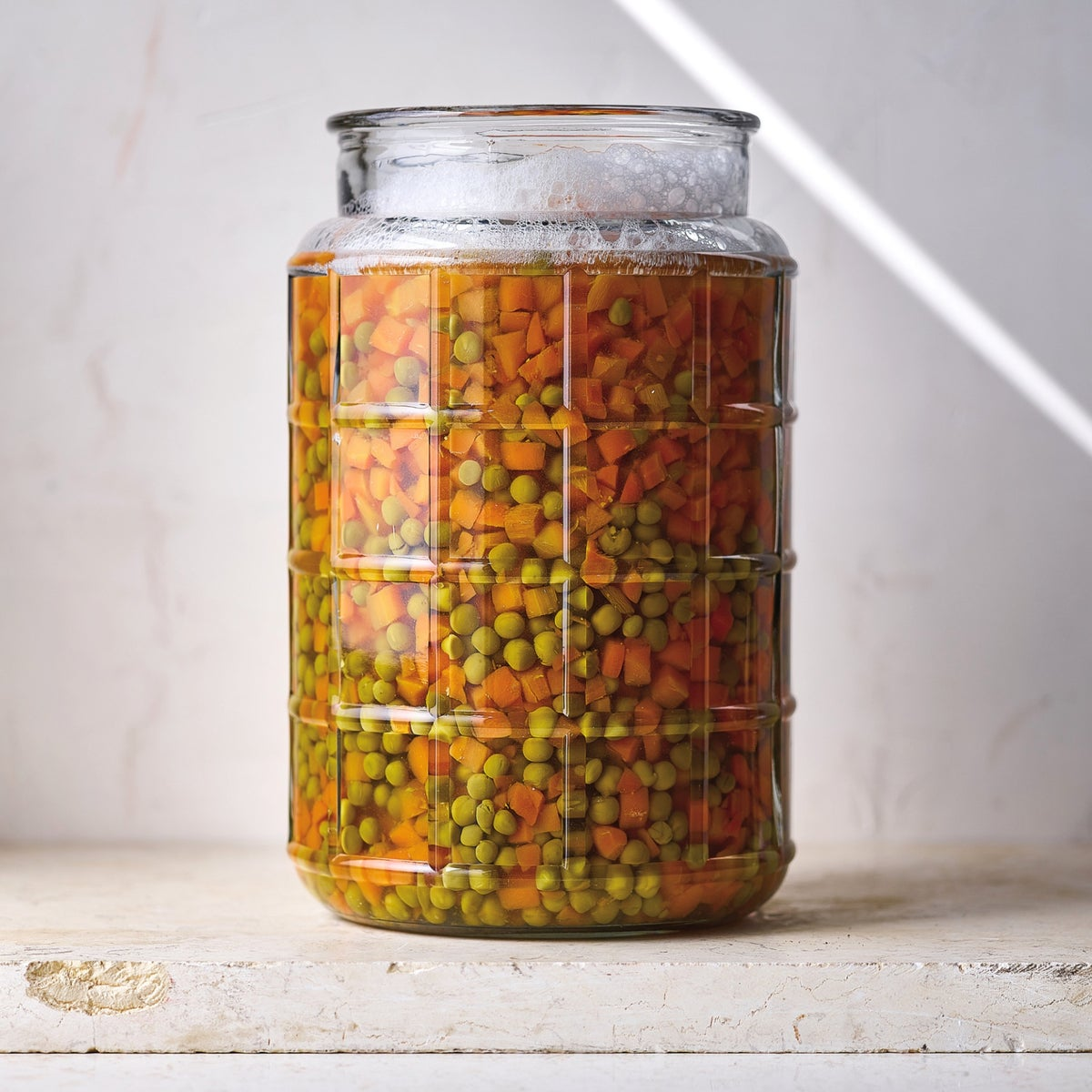 Canned peas and carrots.