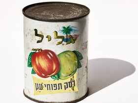 An old can of preserved apple sauce from Israel.