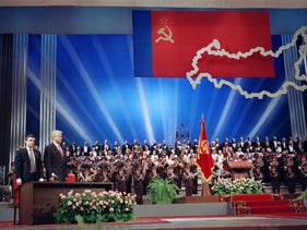 Boris Yeltsin, front left, stands with Vice-President of the Russian Federation, Ruslan Khasbulatov during Yeltsin?s inauguration ceremony at the Kremlin in Moscow, Wednesday, July 10, 1991.