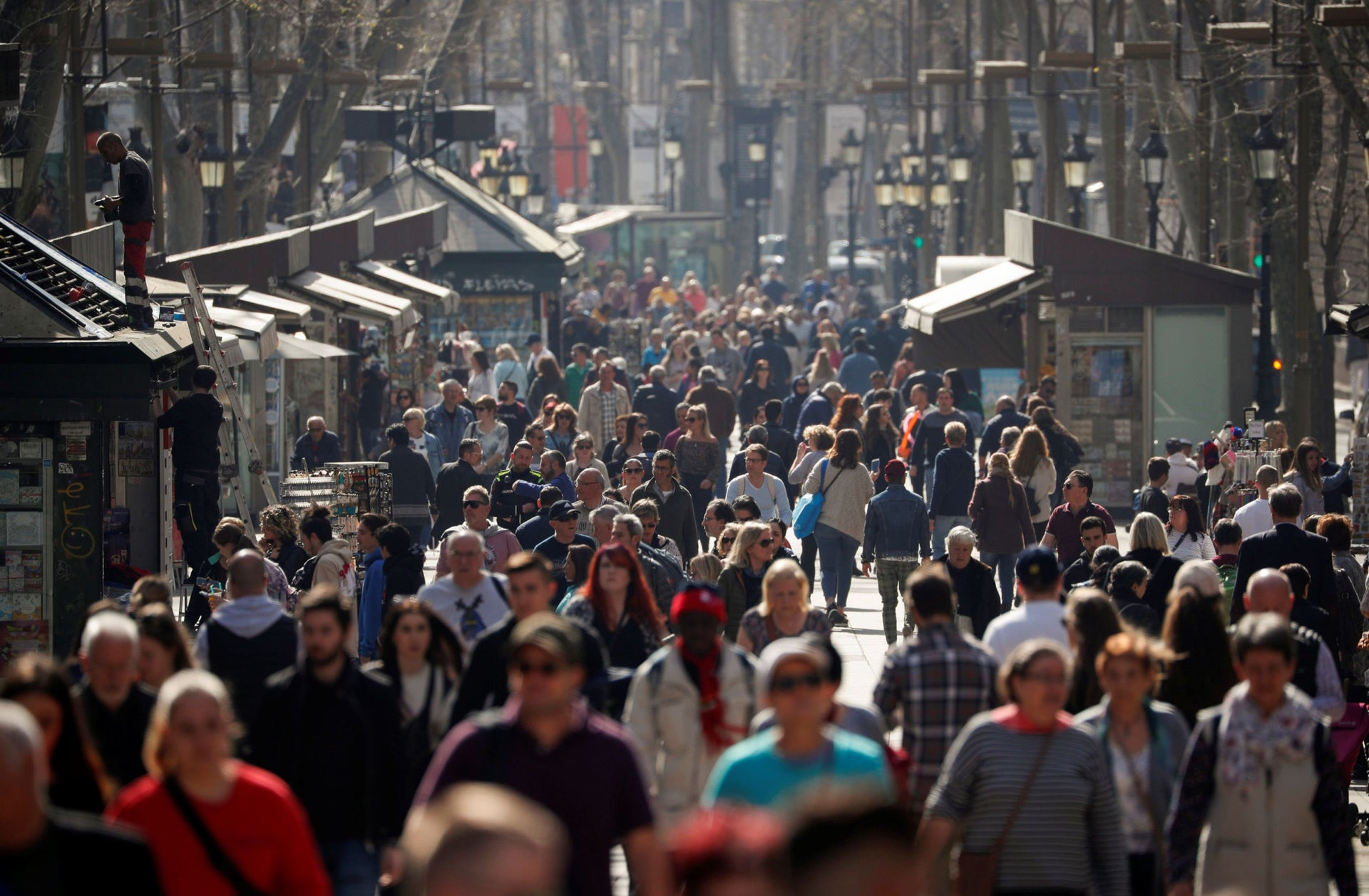 A view of Las Ramblas before an outbreak of the coronavirus in Barcelona, Spain, March 12, 2020.