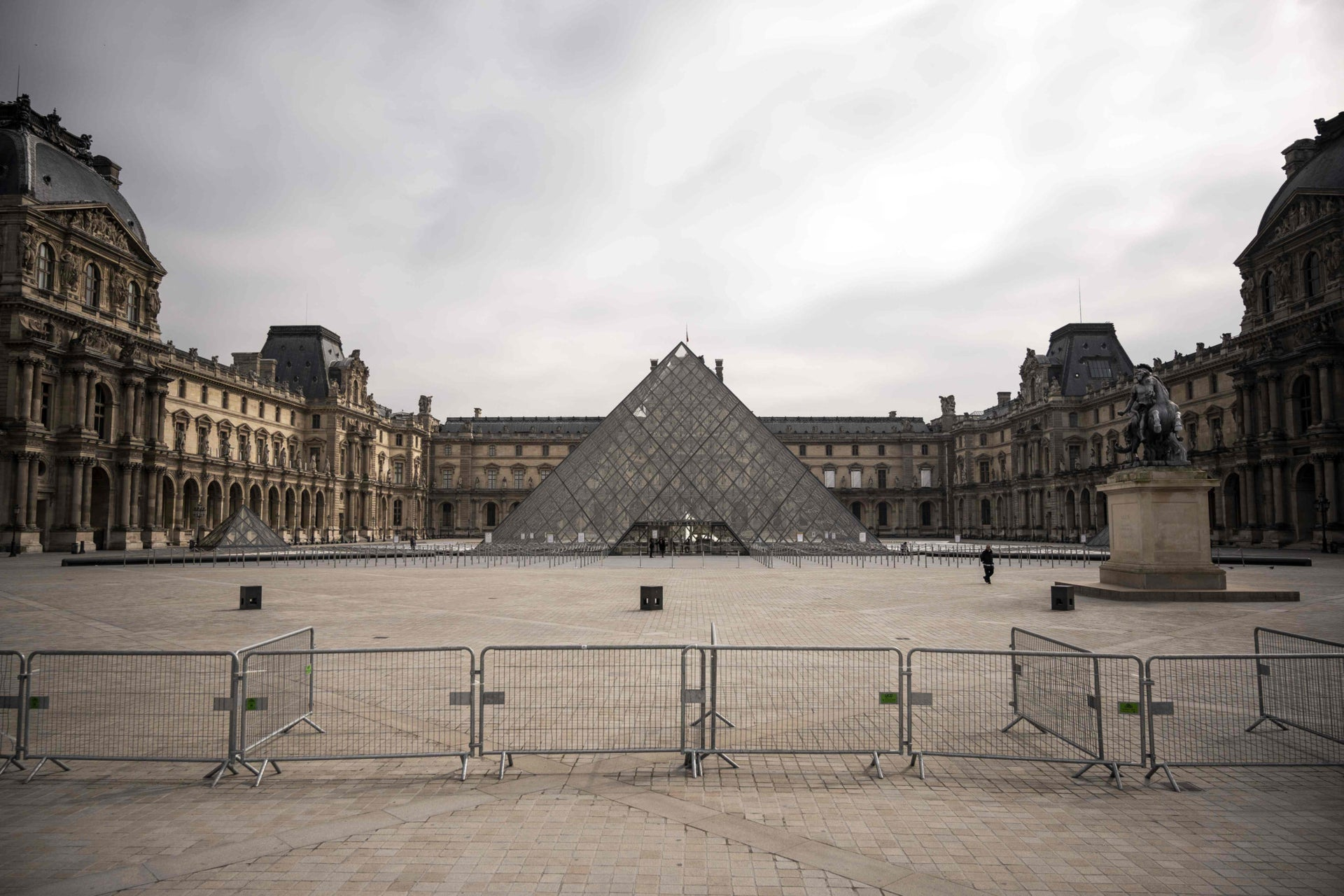 The empty square of the Louvre Pyramid amid a strict lockdown to stop the spread of the coronavirus, Paris, France, March 17, 2020.