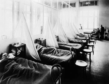 American Expeditionary Force victims of the Spanish flu at U.S. Army Camp Hospital no. 45 in Aix-les-Bains, France, in 1918.