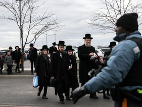 Orthodox Jews arrive at the MetLife Stadium in East Rutherford, New Jersey.