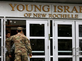 New York Army and Air National Guard arrive to sanitize and disinfect the Young Israel of New Rochelle synagogue, center of a COVID-19 outbreak in New Rochelle, NY. March 23, 2020