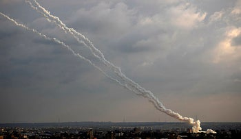 Rockets are launched from the Gaza Strip towards Israel, February 24, 2020.