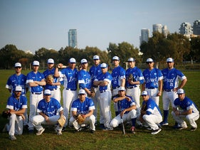 Israel's national baseball team poses for a group photo at a team practice in Tel Aviv, January 14, 2020.