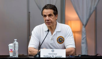 Governor Andrew Cuomo, briefs the media inside a nearly completed makeshift hospital at the Jacob Javits Convention Center in New York, March 27, 2020.