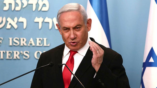 Israeli Prime Minister Benjamin Netanyahu delivers an speech at his Jerusalem office on March 14, 2020.