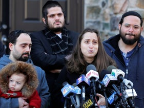 Nicky Kohen, the daughter of Josef Neumann who passed away after an attack at a Hanukkah celebration, speaks to reporters, New York, January 2, 2020