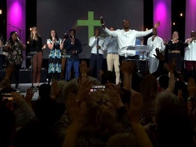 A gospel choir performs at the 2020 gathering of the Christian Open Door Church in Mulhouse, France, February 18, 2020 in this still image taking from a video