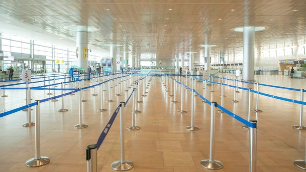 Ben Gurion Airport stands almost empty amid the coronavirus pandemic, March 24, 2020